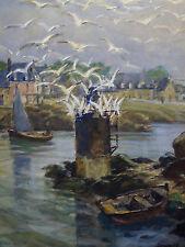 Henri MILOCH (1898-1979) Bretagne Grande gouache Marine Finistére France