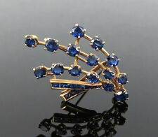 Vintage 2.75ct French & Oval Cut Royal Blue Sapphire 14k Gold Brooch