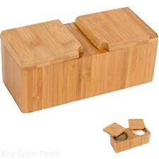 Salt Pepper Keeper Spice Herb Container Storage Organizer Counter Bamboo New