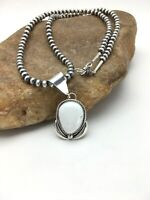 Navajo Pearls Sterling Silver White BUFFALO TURQUOISE Necklace Pendant Set 2868