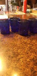 "(4) AVON ROYAL SAPPHIRE BLUE 3 3/4"" OLD FASHIONED GLASSES LEAF PATTERN FRANCE"