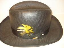 Vintage Deion Dobbs Men's Hemp Straw Oval Hat - Black w/Feather Size Large New