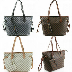 Womens Faux Leather High Quality Checked Shoulder Bag Tote Fashion Handbag Purse