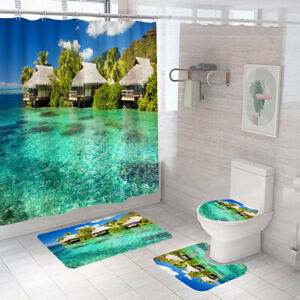 Scenery Shower Curtain Bathroom Rug Set Bath Mat Thick Non-Slip Toilet Lid Cover