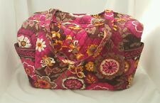 Vera Bradley Large Over the Shoulder Purse Bag Zip Up Floral Pink Brown EUC