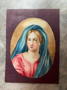 ::PORTRÄT 19 JHR. AQUARELL MARIA ? MADONNA ANDACHT GEMÄLDE KIRCHE BLAUES TUCH