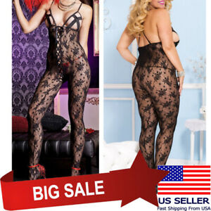 Womens Lace Up Bow Front Floral Lace X-Cup Halter Top Bodystocking Lingerie M/XL