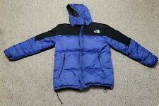 The North Face Mens Puffer Jacket Blue Black Waist Length Lined Hooded Zip 2XL