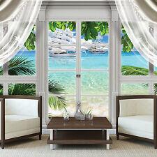 PAPIER Fototapeten Tapete Fenster Tropen Palme Schiff Strand Wasser 3FX10632P4