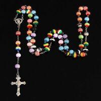 Catholique Nouvelle Mode À La Main Ronde Chapelet Perles De Verre Qualité Croix