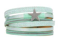 Wickel Armband STERN mit Magnetverschluss MINT Nieten Armband NEU