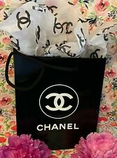 NEW Chanel Shopping Gift Bag Black Glossy with Chanel Tissue Paper Included