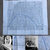WWII Rare 4th Infantry Division Map Liberation of Paris France WW2 Relic