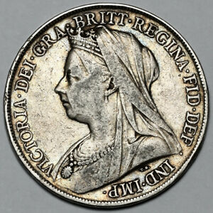 1899 QUEEN VICTORIA GREAT BRITAIN SILVER CROWN COIN