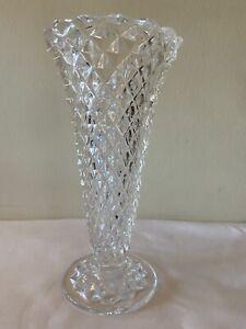 """Vintage Princess House Crystal  8 1/4"""" tall Vase 24% Lead Crystal Diamond Cut"""