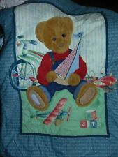 Blue Jean Teddy Baby Blanket Comforter 3d quilt 30 x40 inches Spring Industries