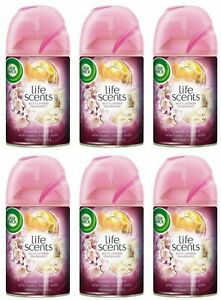 6 Air Wick Automatic Spray Refills Air Freshener Life Scents White Flowers Melon