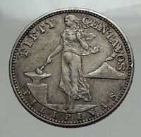 1944 S PHILIPPINES Fifty Centavos United States of America Silver Coin i62885