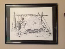 """DAPHNE ODJIG First Nations """"SCRAPING MOOSE HIDE"""" early litho-Series of the North"""