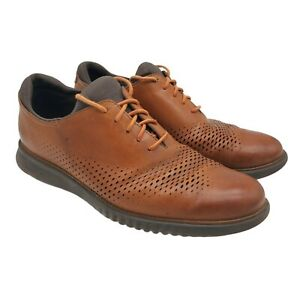 Cole Haan Zerogrand Lined Laser Wingtip Oxford Shoes Mens Size 10M Brown Lace Up