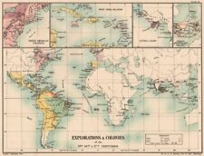 EUROPEAN EXPLORATION/COLONIES. 15C 16C 17C. Americas Indies Africa 1902 map
