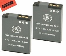BM 2X EN-EL12 Batteries for Nikon KeyMission 170, KeyMission 360 Action Camera