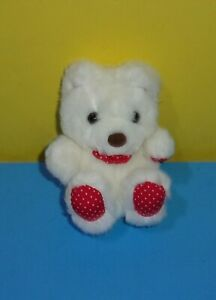 "6"" Russ Lil Twinkler Bear Plush White Teddy Red Polka Dots Stuffed Animal #7599"