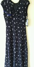Women's Jones New York Black Floral Print  Summer Dress Sz 12  MSRP $144