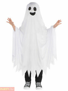 Childs Ghost Costume Boys Girls Ghastly Ghoul Kids Fancy Dress Outfit Halloween