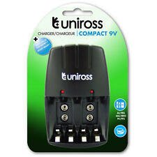 Uniross Caricatore a parete compatto per AA/AAA/9 V PP3 NiMH Rechargeable Batteries