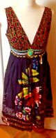 Derhy Black boho Indian cotton Gypsy print sun dress deep v neck floral m 10/12