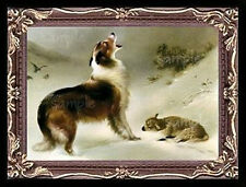 Collie Dog And The Lamb Miniature Dollhouse Picture