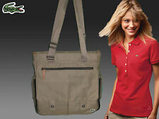 LACOSTE Womens Ladies Bag Vertical TOTE Bag New Casual 10 Khaki  AUTHENTIC