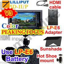 "Lilliput 7"" 5D-II/P Peaking Focus assist LP-E6 adapter HDMI Monitor Canon 5D2"