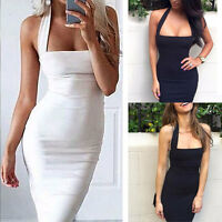 FASHION WOMENS BANDAGE BODYCON COCKTAIL LADIES MIDI PARTY DRESS SIZE UK 4-16