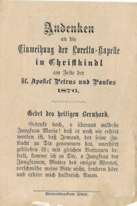 Andachtsbild Heiligenbild Christkindl Steyr Oberösterreich 1876 Loretto Kapelle