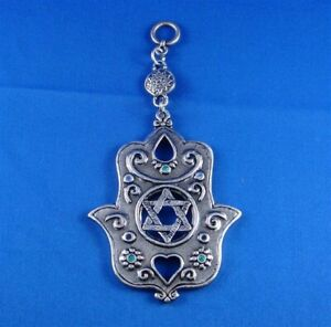 WALL HANGING PEWTER CHAMSAH WITH STAR OF DAVID DESIGN W/BLUE AND GREEN STONES