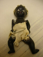 "Vintage c1930s Black Americana Baby Doll 4"" Japan Bisque Porcelain"