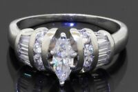 Heavy Platinum 1.14CTW Marquise diamond wedding/engagement ring w/ .50CT ctr.