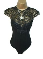 LIPSY Womens Black Sleeveless Floral Mesh Strappy Party Top Body RRP £28