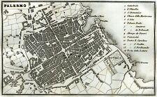 Pianta di Palermo.Carta Topografica,Geografica.Acciaio.Artaria.Passepartout.1857