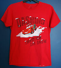 New Disney Parks Cars LIGHTNING MCQUEEN Christmas Holiday Snow T-Shirt Adult M