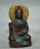 "2 ""Vieux Bouddhisme Chinois Bronze Peinture Siège Guan Yin Statue Sculpture"