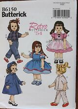 """18"""" GIRL DOLL CLOTHES Butterick Retro '54 Sewing Pattern 6150 American Made NEW"""