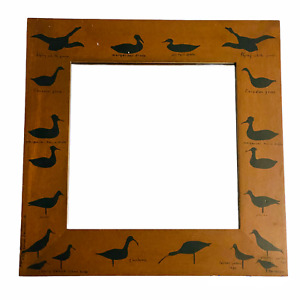 "Wall Mirror Wood Frame Hand Painted Duck Decoy Stencils Brown Black 17.75"""