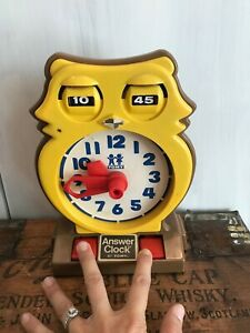 Vtg 1975 Tomy 70s Toys Owl Answer Learning Clock Plastic 1970s Time Education