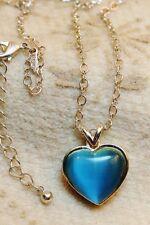 Avon Blue Cabochon Heart Pendant Necklace Silver Tone