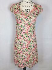 Free People Women's Floral Red Green Cream Sleeveless Sheath Lined Dress Size S