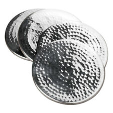 Coasters Set of 4 Hammered Effect Stainless Steel Table Desk Cup Pads Mug Mats