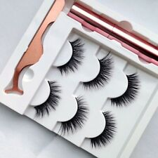 3Pairs Magnetic Eyeliner With EyeLashes & Tweezer RoseGold Set Waterproof 🇬🇧